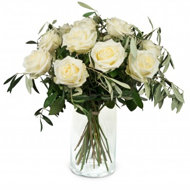 12 White Roses with greenery