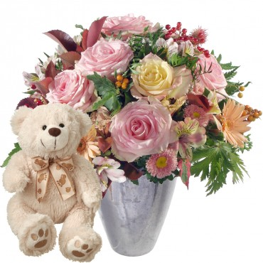 Summer Romance with teddy bear (white)