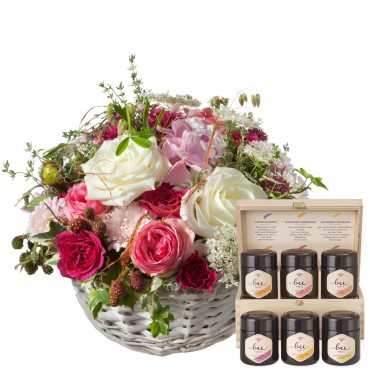 A Basket full of Poetry with Roses and honey gift set