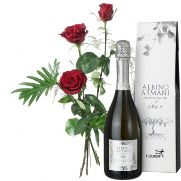 3 Red Roses with greenery and Prosecco Albino Armani DOC (75cl)