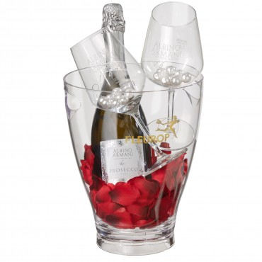 "Time for Two: Prosecco Albino Armani DOC (75 cl) incl. ice bucket and two ""Connaisseur"" glasses"