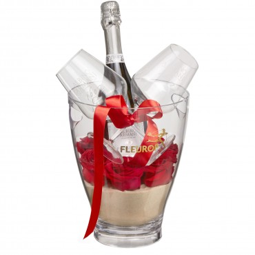 "Sweet Romance: Prosecco Albino Armani DOC (75 cl) incl. ice bucket and two ""Connaisseur"" glasses"