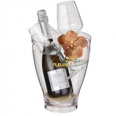 "Natural Elegance: Prosecco Albino Armani DOC (75 cl) incl. ice bucket and two ""Connaisseur"" glasses"