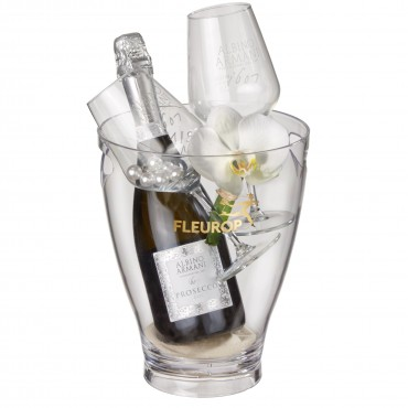 "Orchid Magic: Prosecco Albino Armani DOC (75 cl) incl. ice bucket and two ""Connaisseur"" glasses"