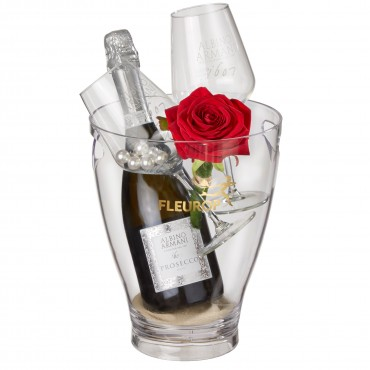 "Kiss Me: Prosecco Albino Armani DOC (75 cl) incl. ice bucket and two ""Connaisseur"" glasses"