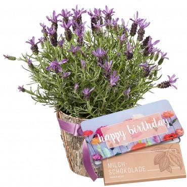 """Scented Summer Greeting with Delicate Flowers with bar of chocolate """"Happy Birthday"""""""