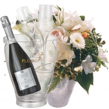 Bianca Flower Pearl with Prosecco Albino Armani DOC (75 cl), incl. ice bucket and two sparkling wine
