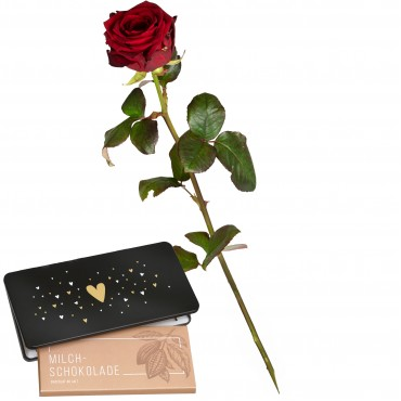 "1 Red Rose (long stem) and bar of chocolate ""Heart"""