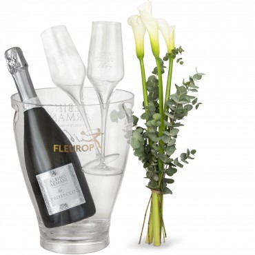White Elegance with Prosecco Albino Armani DOC (75 cl), incl. ice bucket and two sparkling wine flut