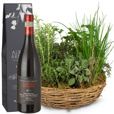 Little herb garden (planted) with Amarone Albino Armani  DOCG (75cl)