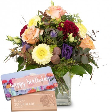 "Colorful flower dream with bar of chocolate ""Happy Birthday"""
