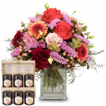 Colorful Wishes of Tulips with honey gift set
