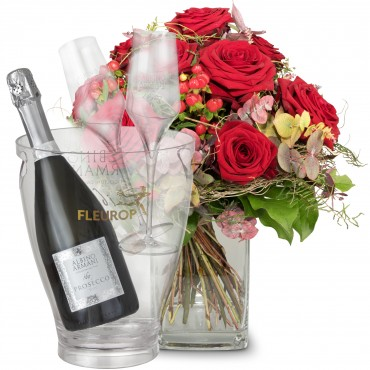 I Love You with Prosecco Albino Armani DOC (75 cl), incl. ice bucket and two sparkling wine flutes