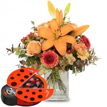Harmony of Lilies with chocolate ladybird
