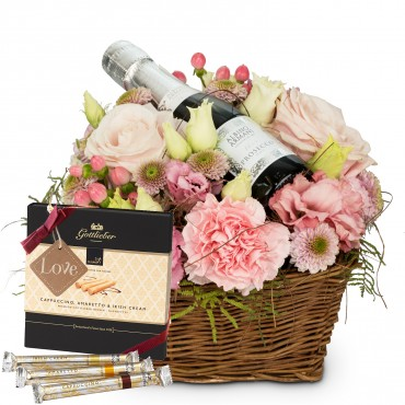 Flower Fairy with Prosecco Albino Armani DOC (20cl), Gottlieber Hüppen and hanging gift tag «Love»