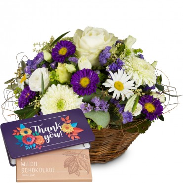 "Beautiful Summer Basket with bar of chocolate ""Thank you"""