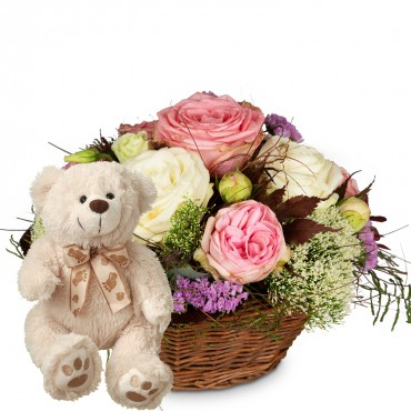 A Basket full of Poetry with Roses with teddy bear (white)
