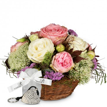 A Basket full of Poetry with Roses, incl. Key Ring with 112 Swarovski® crystals