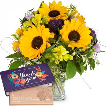 "Let the Sunshine in with bar of chocolate ""Thank you"""