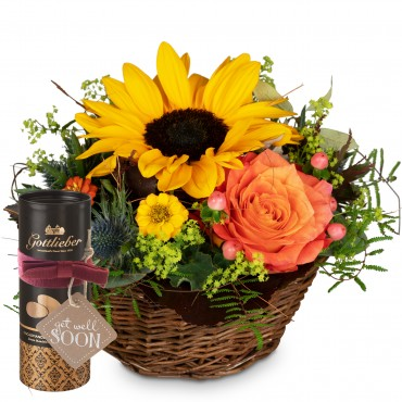 Sunny Kiss with Gottlieber cocoa almonds and hanging gift tag «Get Well Soon»