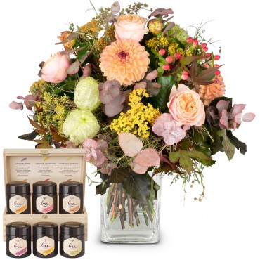 September Bouquet of the Month with honey gift set