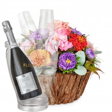 Cute Basket of Flowers with Prosecco Albino Armani DOC (75 cl), incl. ice bucket and two sparkling w