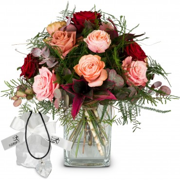 Romantic Roses with Swarovski® crystal heart