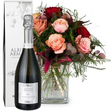 Romantic Roses with Prosecco Albino Armani DOC (75cl)