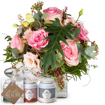 Just beautiful with Roses with Gottlieber tea gift set and hanging gift tag «Get Well Soon»