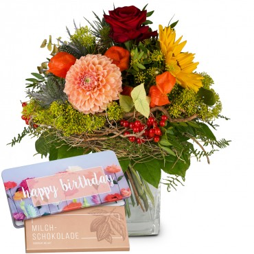 Late Summer Dream with Delicate Flowers with bar of chocolate «Happy Birthday»