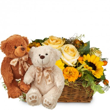 Enchantment of Nature with two teddy bears (white & brown)