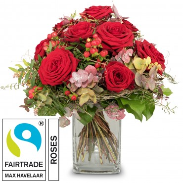 I Love You, with Fairtrade Max Havelaar-Roses, big blooms