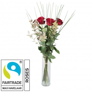 3 Red Fairtrade Max Havelaar-Roses with greenery