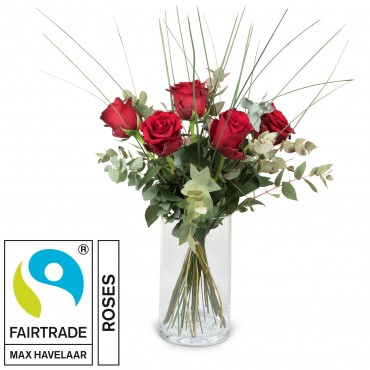 5 Red Fairtrade Max Havelaar-Roses with greenery