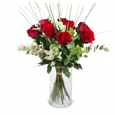 9 Red Roses with greenery