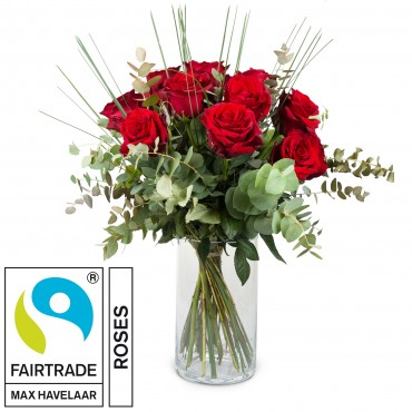 12 Red Fairtrade Max Havelaar-Roses with greenery