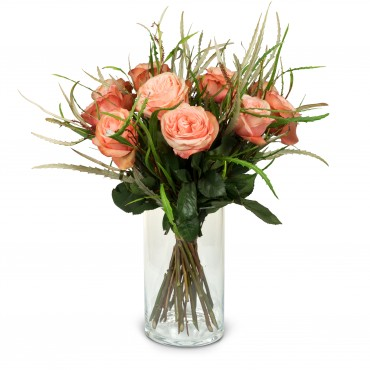 12 Salmon Colored Roses with greenery