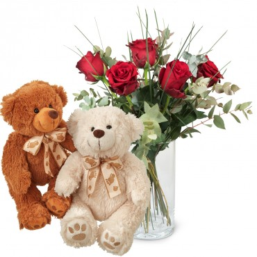 5 Red Roses with greenery and two teddy bears (white & brown)