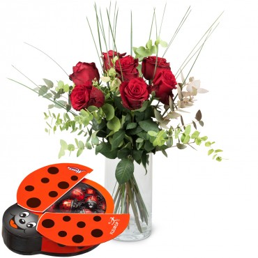 7 Red Roses with greenery and chocolate ladybird