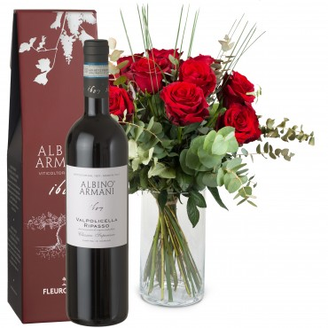 12 Red Roses with greenery and Ripasso Albino Armani DOC (75cl)