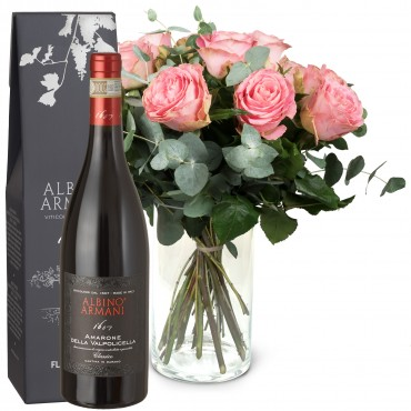12 Pink Roses with greenery and Amarone Albino Armani  DOCG (75cl)