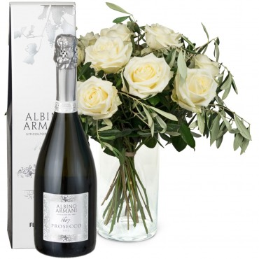12 White Roses with greenery and Prosecco Albino Armani DOC (75cl)