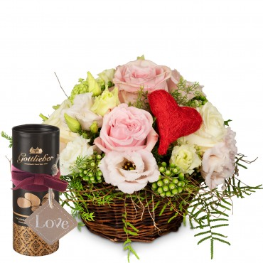 A Basket Filled with Love with Gottlieber cocoa almonds and hanging gift tag «Love»
