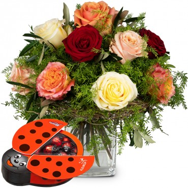 Fairy Tale of Roses with chocolate ladybird