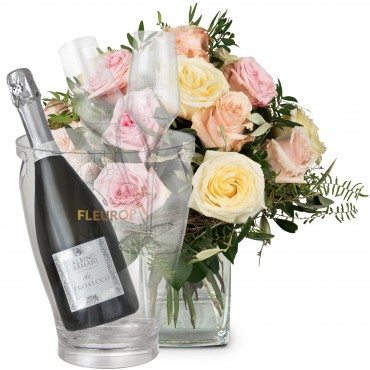 Cordial Rose Greeting with Prosecco Albino Armani DOC (75 cl), incl. ice bucket and two sparkling wi