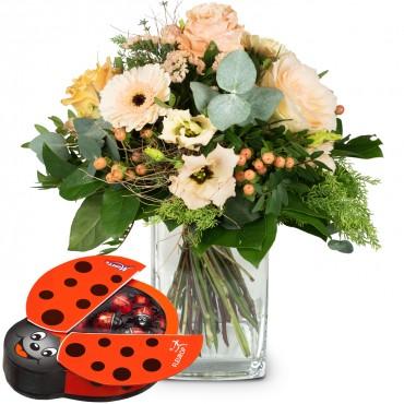 Delicate Seasonal Bouquet with chocolate ladybird