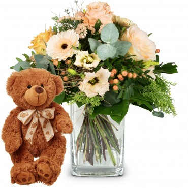 Delicate Seasonal Bouquet with teddy bear (brown)