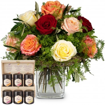 Fairy Tale of Roses with honey gift set