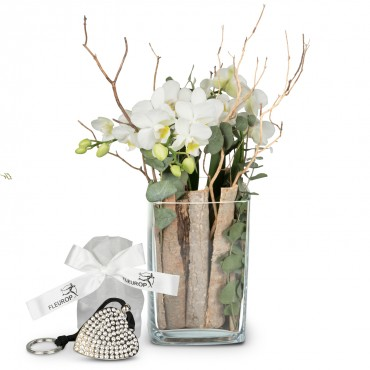 Lifestyle (orchid in a vase)  incl. Key Ring with 112 Swarovski® crystals