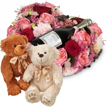 Touched Deeply with Prosecco Albino Armani DOC (75 cl) with two teddy bears (white & brown)